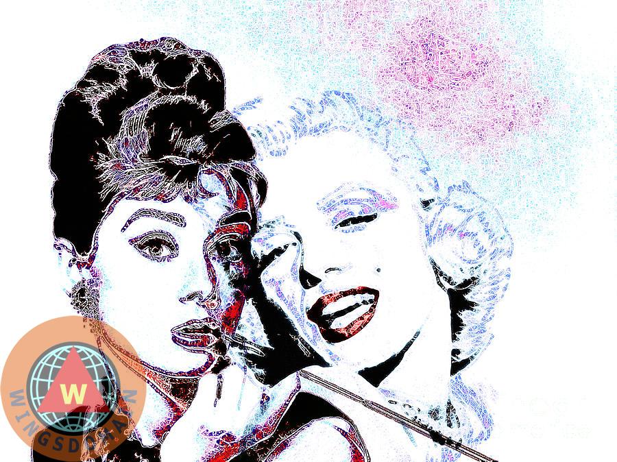 Buy Audrey Hepburn and Marilyn Monroe by Wingsdomain Art and ...