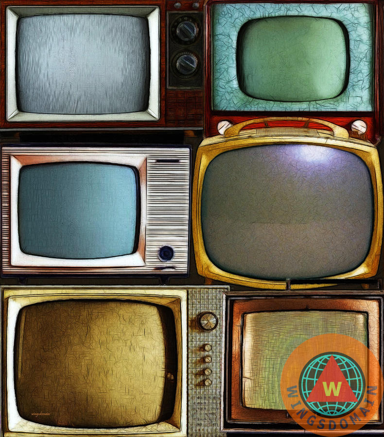 buy retro television marathon by wingsdomain art and photography